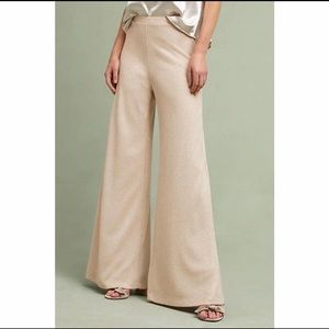 Anthropologie Champagne Shimmer Wide-Legs